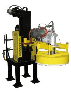 Ladle preheating station for non-ferrous foundries.